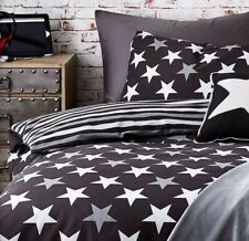 BOYS STARS DOUBLE DUVET SET BEDROOM BLACK/GREY/STRIPE REVERSIBLE BEDDING GR8🎁🎁