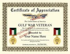 Gulf War Certificate of Appreciation ***8.5 by 11 inches*** Military USA Army
