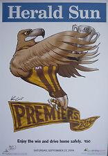 "AFL HAWTHORN HAWKS HERALD SUN WEG 2014 PREMIERS POSTER ""LICENSED"" BRAND NEW"
