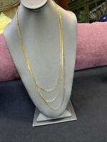 """Vintage Gold Tone Long Multi Strand Gold Finish Flat Chain  Sweater Necklace 30"""""""