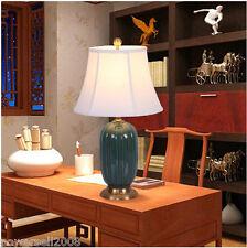 Chinese Style Green Lampshade Diameter 33.5CM Ceramic+Fabric Bedroom Table Lamp