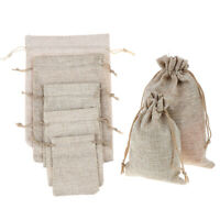 5pcs Mariage naturel toile de jute faveur cadeau sacs pochette sac de cordonTRFR