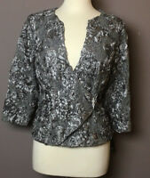 MARINA Gray Long Sleeve Top Kimono Lace Sequins Textured Floral Size L NWT USA