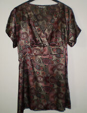 Evie Multi Coloured Funky Pattern Short Sleeved Hippie Boho Tunic Top Size 12