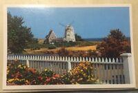 Windmill on CAPE COD MA vintage unused chrome postcard