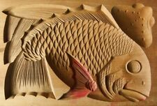 20ksg42 VINTAGE JAPANESE KASHIGATA WOOD CAKE MOLD TAI SEA BREAM FISH LUCKY FISH