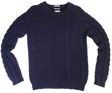 mens GANT RUGGER navy blue Cable Knit fisherman's sweater M preppy AF!!