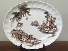 """Johnson Brothers THE OLD MILL Brown Multicolor 11 7/8"""" Oval Serving Platter"""