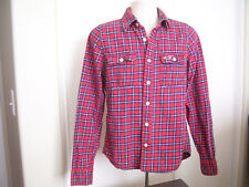 Hollister Button Down Mens Flannel Shirt Long Sleeve Eagle Logo Red Check Size M
