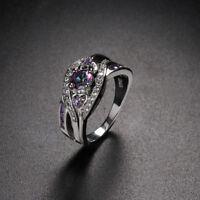 925 silber - ring lila - weißen cz herz crystal zirkon farbige regenbogen topaz