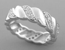 New Sterling Silver Cz Full Eternity Wedding Band Ring Size 6 Round Cut