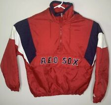 Vtg Majestic Authentic Mens Boston Red Sox 1/4 Zip Pullover Hoodie Jacket  Large