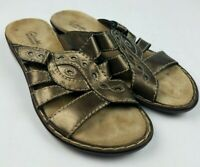 Clarks Bendables Slip On Sandals Slides Shoes Womens 7.5 Adjustable Strappy