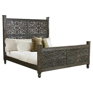 MADE TO ORDER Dynasty Hand Carved Indian Wooden King Size Bed Chocolate Finish
