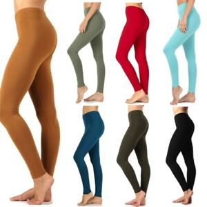 Womens ZENANA Full Ankle Length Leggings Basic Cotton Span Stretch Pants
