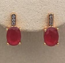 18K Gold Filled Earrings Ruby White Topaz Zircon Jade Classic Ear Hoop Stud Ball