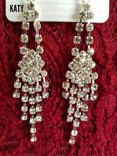 Vintage Long Drop Dangle Diamante Crystal Earrings Silver Wedding Bridal Gift