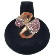 Pink Lucite Silver Ring Pink Crystal Cluster Size 8