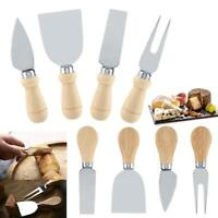 4PCS Cheese Knives Wooden Handles Stainless Steel Cheese Slicer Cutter Fork Set