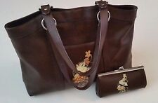 DISNEYSTORE 100% Leather Purse & Wallet SET Brown RARE Minnie Mouse Handbag Tote