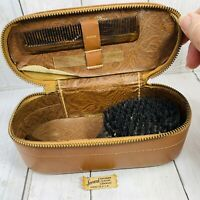 VINTAGE Gentleman's SWANK  Travel Toiletries Leather Valet Case  Brush Comb