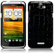 For HTC One X Black Croc PU Leather Hard Back Case Cover