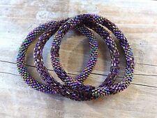 Metallic Purple Bead Bracelets Set, just roll on , Japanese Beads Nepal, MB300