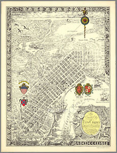 The Creole city of New Orleans 1930 Pictorial Map Poster Mardi Gras 18x24