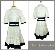 KAREN MILLEN IVORY CREAM STRIPED WORK SHIRT DRESS 14 42