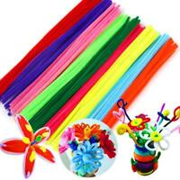 100 Pipe Chenille Sticks Cleaners Stems Assorted Crafts Plain 30cm 6mm P9E7