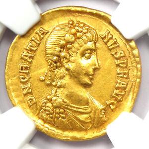 Ancient Roman Gratian AV Solidus Gold Coin 367-383 AD - Certified NGC AU