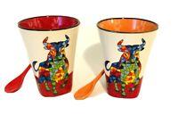 SET OF 2 Ole Mosaic Matador BULL BullFighter Coffee Tea Cup Mug Espana SPAIN