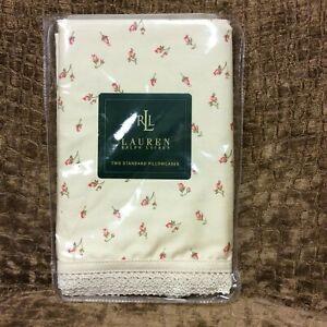 Ralph Lauren Woodstock Garden Calico Rosebud Floral Standard Pillowcases (2) NIP