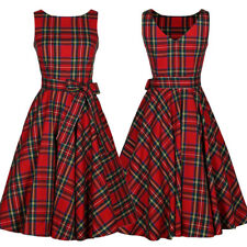 Women Vintage Retro Plaid 50s 60s Rockabilly Housewife Party Pinup Swing Dresses
