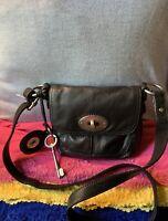 Fossil Maddox Black Pebble Leather Flap Turn Lock Cross Body Shoulder Bag