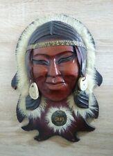 Soviet vintage wooden mask,Hand Carved mask reindeer herder Taimyr souvenir 1989