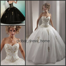 Gold Embroidery Quinceanera Ball Gown Prom Formal Wedding Dresses for 15 16 Year