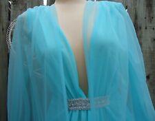 Nos Vtg 60s Aqua Blue Silky Nylon Gown Chiffon Robe Mcm Bridal Negligee Set S