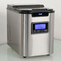 iceQ Stainless Steel Deluxe Ice Machine Maker - Makes Ice Cubes In 15 minutes