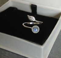 925 Sterling Silver Feather Ring Rainbow Moonstone Adjustable Ring