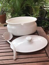 1980's Vintage Large Soup Tureen White Ceramic w/ Lid and Ladle