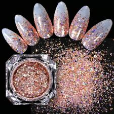 colorful Holographic glitter Sequins Rose Gold Powder DIY Nail Art Decoration