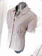 ❤ NEXT Size 18 White Pink Grey Stretch Button Up Short Sleeve Shirt Blouse Top
