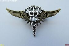 Lo Steampunk Goth Spilla Badge COG Flying Wings Caduceo Bastone di Asclepio Hermes