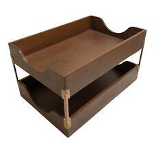 Vintage 2 Tier Dovetail Wood Wooden Paper Letter Tray Holder Desk Organizer