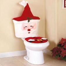 2Pcs Christmas Decoration Happy Santa Claus Toilet Seat and Tank Cover Set LI