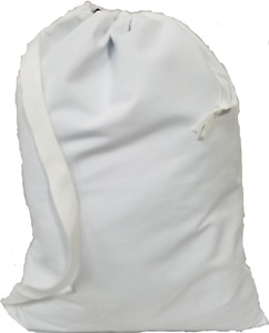 """Owen Sewn White Canvas Laundry Bag 22""""x28"""" with Shoulder Strap - Made in USA"""