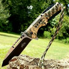 """8.25"""" Hunting Folding Pocket Knife Spring Assisted Open Camo Paracord Survival"""