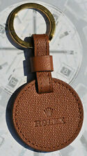 RARE key ring with locket brown leather original ROLEX NEW