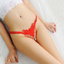 Sexy G-String Women Tassel Thong Pearl Crothless Briefs Underwear Panties T-Back